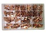 Sherco-Auto 90 Piece Large Gauge Copper Lug Ring Wire Terminal Connector Assortment - Contains 18 Different Types - Made in USA