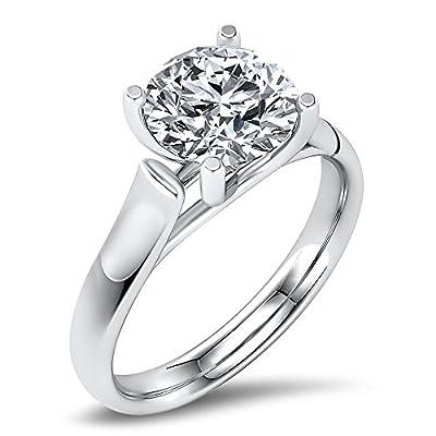 Gorgeous! FOREVER BRILLIANT! 14k White-gold 7.50MM (1 1/2CT) Moissanite Solitaire Engagement Ring