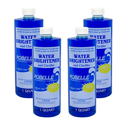 (Robelle 2420-04 Water Brightener and Clarifier for Swimming Pools, 1-Quart, 4-Pack)