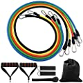 DONGJI Resistance Band Set with Door Anchor, Ankle Strap for Fitness and Exercise(5 Colors) by DONGJI