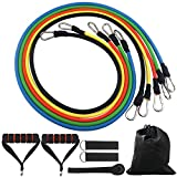 #4: DONGJI Resistance Band Set with Door Anchor, Ankle Strap, Exercise Chart for Fitness and Exercise(5 Colors)