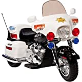 Kid Motorz Police Motorcycle 12-Volt Battery-Powered Ride-On With Headlight, hazard light and signal light