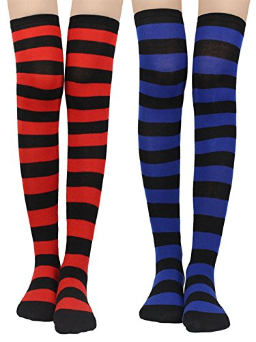 Womens Knit Knee-High Socks - Leg Warmer Knit Crochet High Boot Thigh Socks Leggings (2 pairs-red+blue)