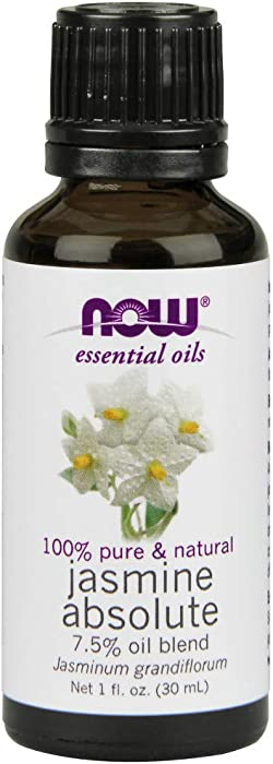 NOW Essential Oils, Jasmine Absolute Oil Blend, 7.5% Blend of Pure Jasmine Absolute Oil in Pure Jojoba Oil, Romantic Aromatherapy Scent, Vegan, 1-Ounce