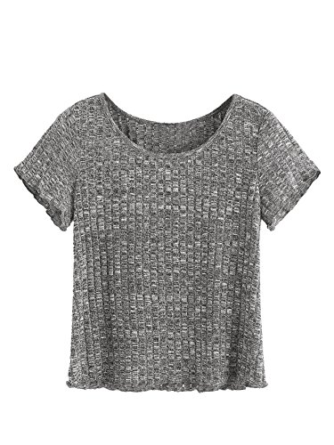 - SheIn Women's Casual Basic Crew Neck Short Sleeve Ribbed Knit Tee Large Dark Grey