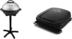 George Foreman 15-Serving Indoor/Outdoor Electric Grill, Silver, GGR50B & 4-Serving Removable Plate Grill and Panini Press, Black, GRP1060B