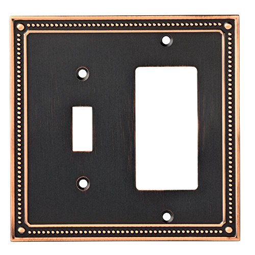 Franklin Brass W35063-VBC-C Classic Beaded Switch/Decorator Wall Plate/Switch Plate/Cover, Bronze with Copper Highlights - Bronze Cover Plate