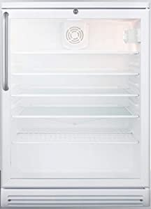 Summit Appliance SCR600GLBITB Commercially Listed 5.5 Cu.Ft. Built-in Undercounter Beverage Center with Glass Door, Auto Defrost, Adjustable Thermostat, Towel Bar Handle, Lock and White Cabinet