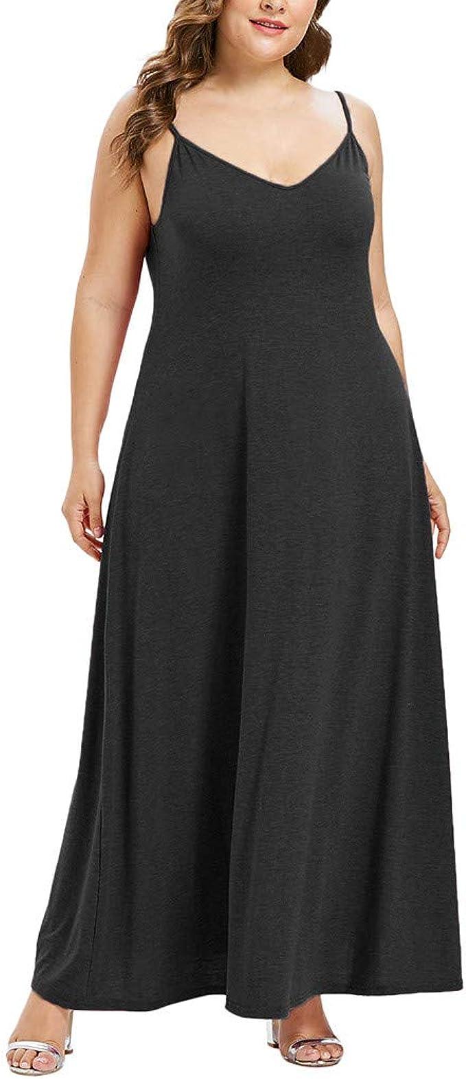 Womens Plain Sleeveless Ladies Scoop Neck Belted Long Maxi Vest Dress Plus Size