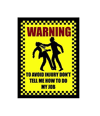 Ecool - Placa de Pared (A5), diseño con Texto en inglés Warning to Avoid Injury: Amazon.es: Hogar