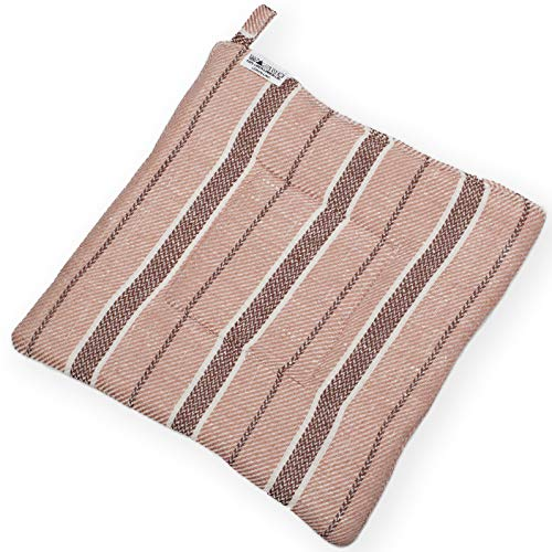 Pot Holder - Linen/Cotton Woven Fabric - 9''x9'' - Light Brown - Striped by Lusie's Linen (Image #1)