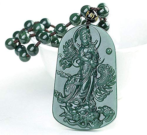 c1lint7785631 Pure Natural Hand Carved Qing Jade Dragon Necklace Pendant (Kwan-Yin) Dragon Green Jade Necklace