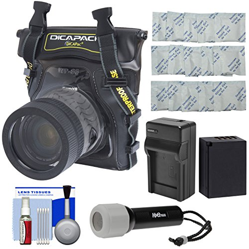 DiCAPac WP-S5 Waterproof Case for Compact DSLR Cameras with NP-W126S Battery/Charger + LED Torch + Kit for Fuji X-PRO2, X-T1, X-T10, X-T2, X-T20 (Dicapac Waterproof Dslr Camera Case Wp S10)
