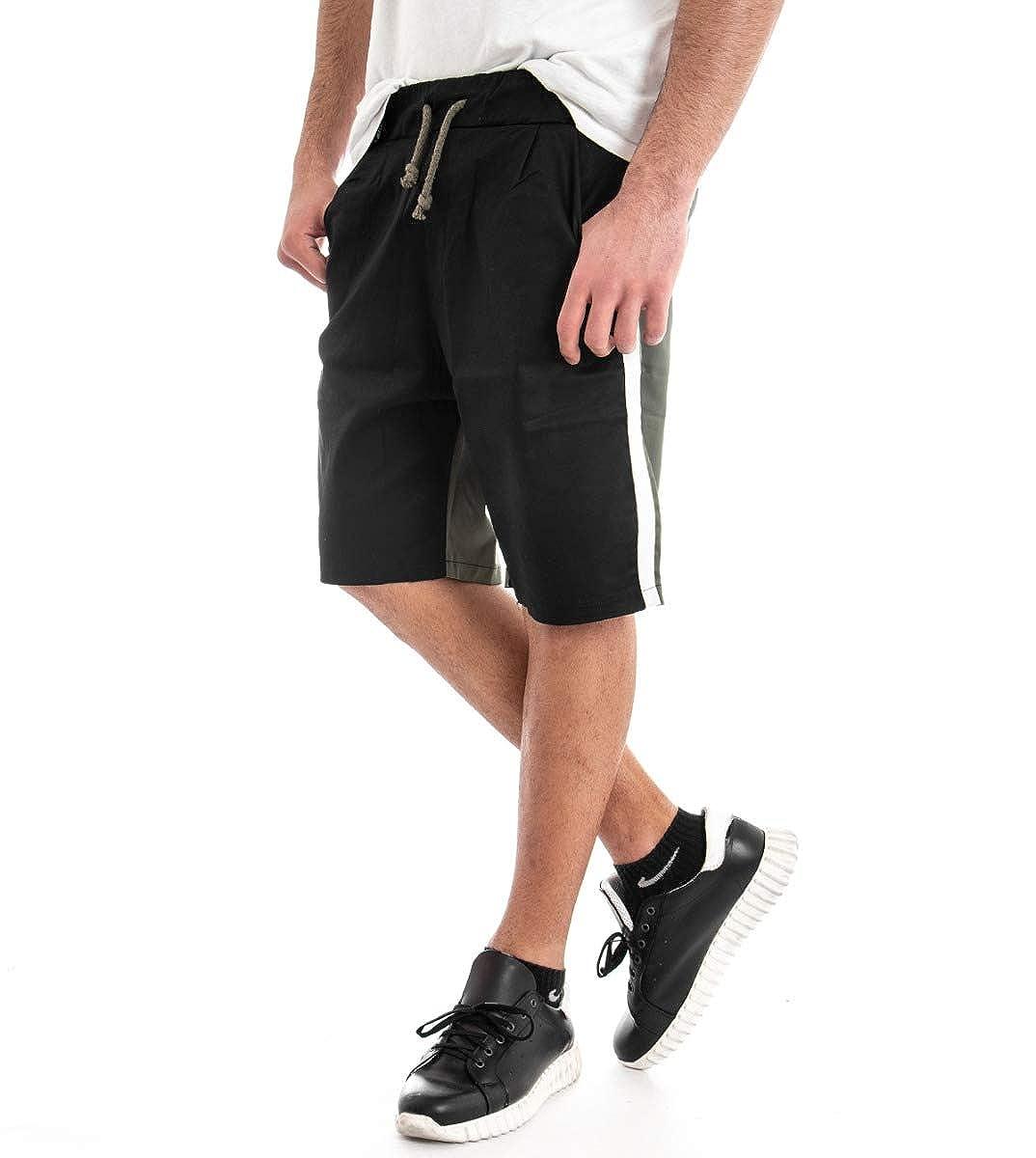 Giosal - Pantalón Corto para Hombre - Bermuda - Chándal Bicolor ...