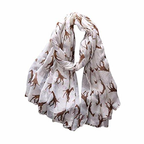 Clearance,Yang-Yi Women Scarf Automn Giraffe Print Pattern Long Scarf Warm Wrap Shawl (Beige, one ()