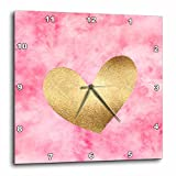 3dRose PS Inspiration - Image of Gold Pink Watercolor Heart - 13x13 Wall Clock (dpp_280722_2)