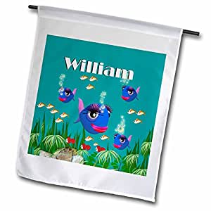 SmudgeArt Male Child Name Design - This vibrant artwork of Fish under the sea is personalized with the name William - 12 x 18 inch Garden Flag (fl_51171_1)