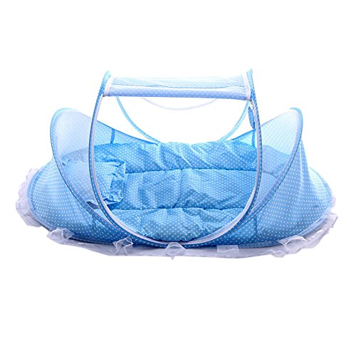 Baby Travel Bed,Portable Baby Bed,Travel Folding Baby Crib with Mosquito Net for 0-24 Month Baby (Blue)