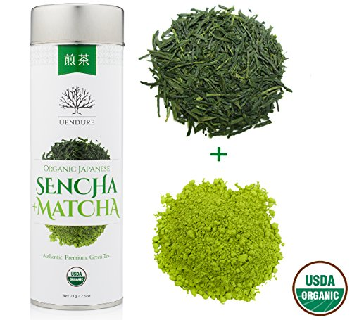 Organic Japanese Green Tea + Matcha - Premium Loose Leaf Sencha - Hand Harvested - Natural Whole Leaf Superfood - 2x Health Benefits Than Normal Tea - Non GMO and USDA Certified - 71 grams (Japanese Gyokuro Green Tea)