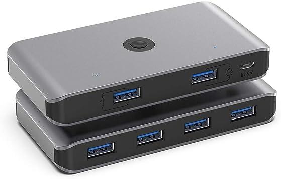 Rocketek USB 3.0 KVM Switch, 4 Puertos USB 3.0 Switch 2 Entradas y 4 Salidas para Compartir 4 Dispositivos de Teclado, Ratón, Memorias USB, Disco ...