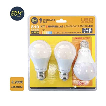 KIT 3 BOMBILLAS LED STANDARD 10W E27 3.200K LUZ CALIDA EDM