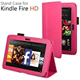 CaseGuru Amazon Kindle Fire HD 8.9 inch (2013) Leather Case Cover and Flip Stand Wallet Plus Capacitive Stylus Pen (Hot Pink)
