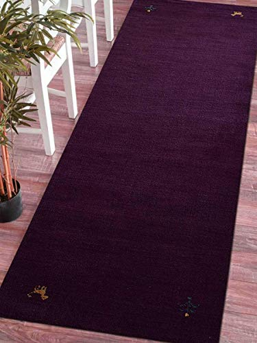 Rugsotic Carpets Hand Knotted Gabbeh Wool 2' 6'' X 10' Runner Rug Solid Purple L00100 from Rugsotic Carpets