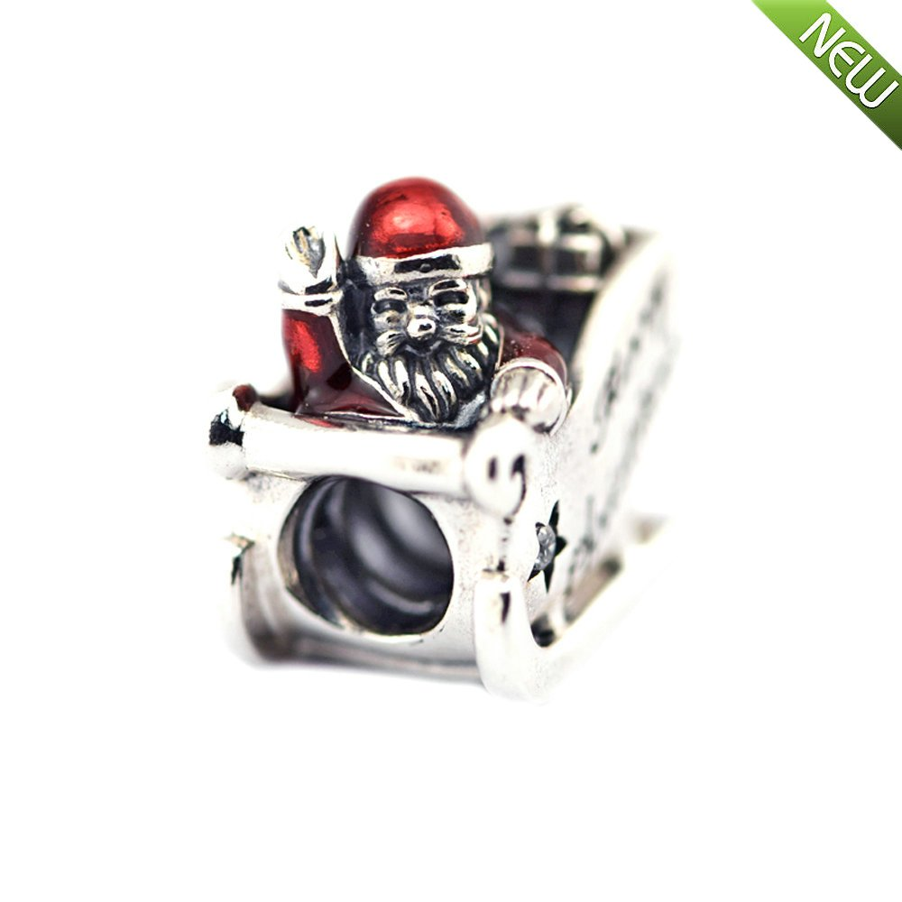 f0a08bbb0 2016 Winter Christmas Sleighing Santa Beads Fits Pandora Charms Bracelets  Translucent Red Enamel Beads For Jewelry Making: Amazon.co.uk: Kitchen &  Home