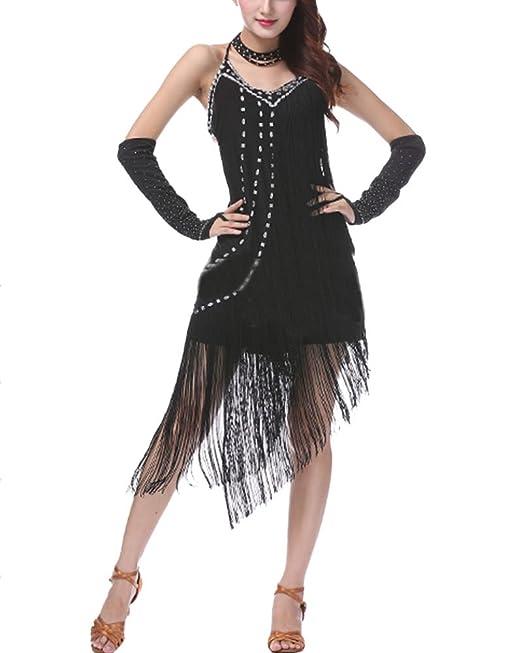 Mujer Sin Mangas Borla Lentejuelas Latino Traje Vestido Salón De Baile Traje De Baile Vestido Negro Talla única: Amazon.es: Ropa y accesorios