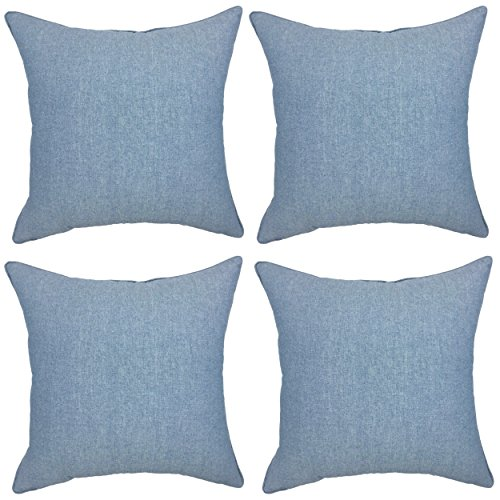 YOUR SMILE Solid Color Blue Decorative Throw Pillow Case Cushion Cover Pillowcase for Sofa 18 x 18 Inch , Set of 4 (Color Solid Pillows)
