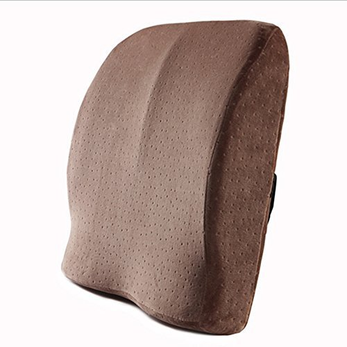 Active Authority Premium Breathable Memory Foam Lumbar Pillow with Back Support Massage Granules for Car, Office Chair and Travel (Coffee)