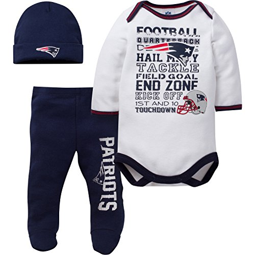 NFL New England Patriots Bodysuit, Pants & Cap Set, 3-6 Months, Navy
