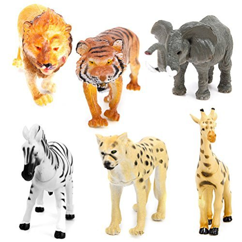 ROSENICE Animals Figure 6pcs Mini Elephant Giraffe Leopard Lion Tiger Zebra Wild Animals Action Figure from ROSENICE
