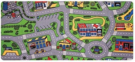 """Learning Carpets City Life Play Carpet, 79"""" by 36"""" – City-Themed Play Carpet Develops Imagination – Skid-Resistant Gel Backing – Durable – Portable Play Carpet for Hours of Fun – Indoor/Outdoor Use, Multi Color (LC206)"""