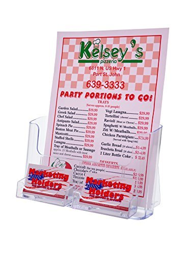 Marketing Holders Clear Counter top Brochure Holder for 8.5 x 11 Literature with 2 Business Card Holders (pack of 1) by Marketing Holders