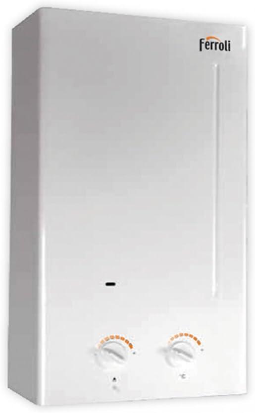 Calentador de agua electrónico a ionización a tiro Natural con Camera abierta. Selector de potencia y temperatura, dispositivo de control de evacuación de humos, encendido de llama a ionización. Válvu