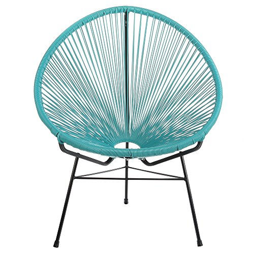 Design Tree Home Acapulco Indoor/Outdoor Lounge Chair, Blue Weave on Black Frame (Outdoor Furniture Modern Patio Mid Century)