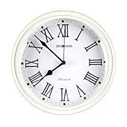 DecoMates Non-Ticking Silent Wall Clock, Classic Roman White