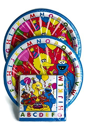 Sesame Street Birthday Party Plates & Napkins Set for 16 Guests by Mixed (Sesame Street Party Big Bird Lunch Napkins)