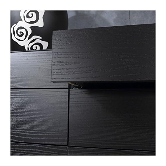 Pemberly Row Modern Contemporary 6 Drawer Wide Double Bedroom Dresser in Black Woodgrain - Six Drawer Double Dresser Foil surface Black Woodgrain finish - dressers-bedroom-furniture, bedroom-furniture, bedroom - 51w50Fpi01L. SS570  -