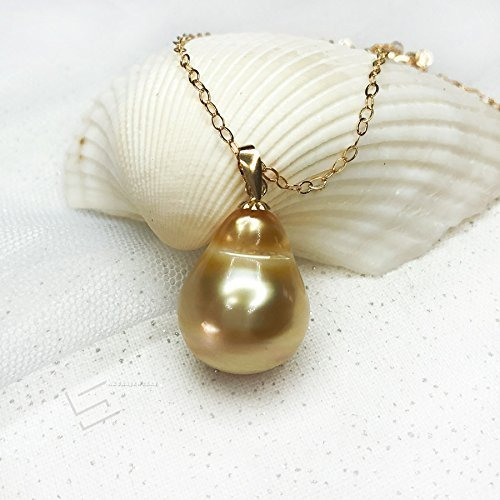 Golden Pearl In18KT Gold Pendant, Baroque South Sea Pearl Pendant Necklace, Authentic Saltwater Pearl Pendant, Golden Pearl & Gold Jewelry (Saltwater Pearl Baroque)