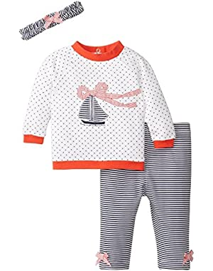 Baby-Girls Newborn Sail Quilted Legging Set!