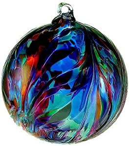 """Kitras Art Glass Feather Witch Ball Classic Blue Multi Colors 6"""""""