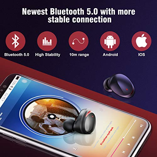 Wireless Earbuds, HolyHigh True Wireless Stereo Bluetooth 5.0 Earbuds with 3000mAH Charging Case,120H Playtime Deep Bass Noise Cancellation Waterproof Sport Earphones, in-Ear Headset with Built-in Mic