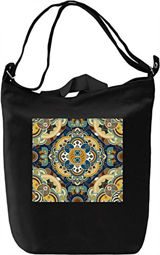 Geometrical Flowers Pattern Borsa Giornaliera Canvas Canvas Day Bag| 100% Premium Cotton Canvas| DTG Printing|
