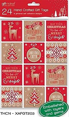 Pack de 24 moderno hecho a mano Navidad Peel & stick etiquetas de ...