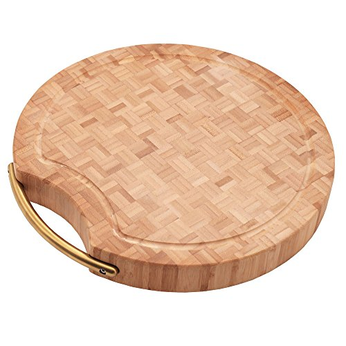 Thick Grain Round Bamboo Wood Cutting Board/Professional Heavy Large Kitchen Butcher Block Chopping Board With Handles, Antibacterial, Organic,Best for Meat, Cheese Good Gift 13x13x1.57inches (Board Large Square)