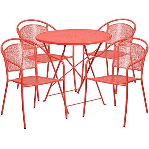 MFO 30'' Round Coral Indoor-Outdoor Steel Folding Patio Table Set with 4 Round Back Chairs