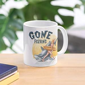 Sunset Fun Girl Surf Summer Shark Fishing Ocean Best 11 Ounce Ceramic Coffee Mug Gift