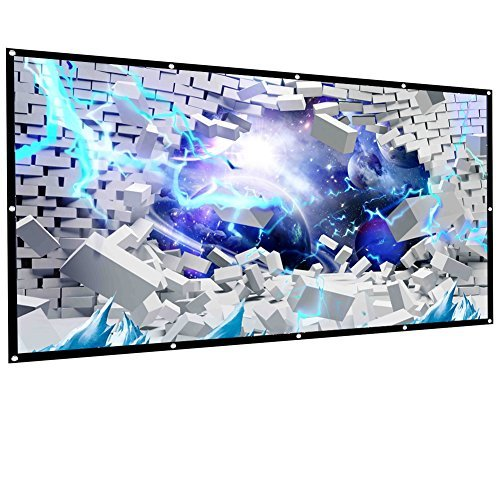 CFTech 100 inch Projector Screen 16:9 HD Foldable Anti-crease Portable Projection Movies Screen for Home Theater Outdoor Indoor Match Party, Support Double Sided Projection , 2 lbs Only